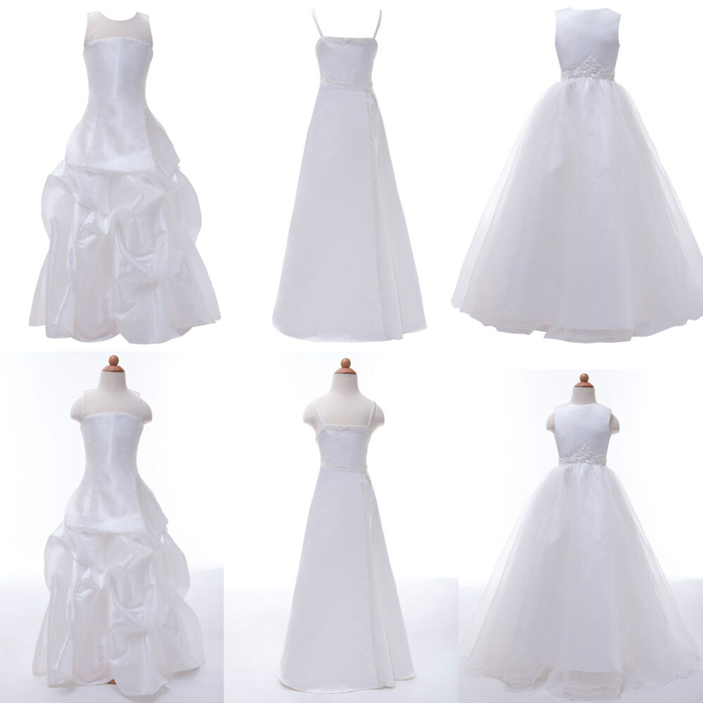2-12 Years Age Cute Flower Girl Long White Dress Wedding Pageant ...