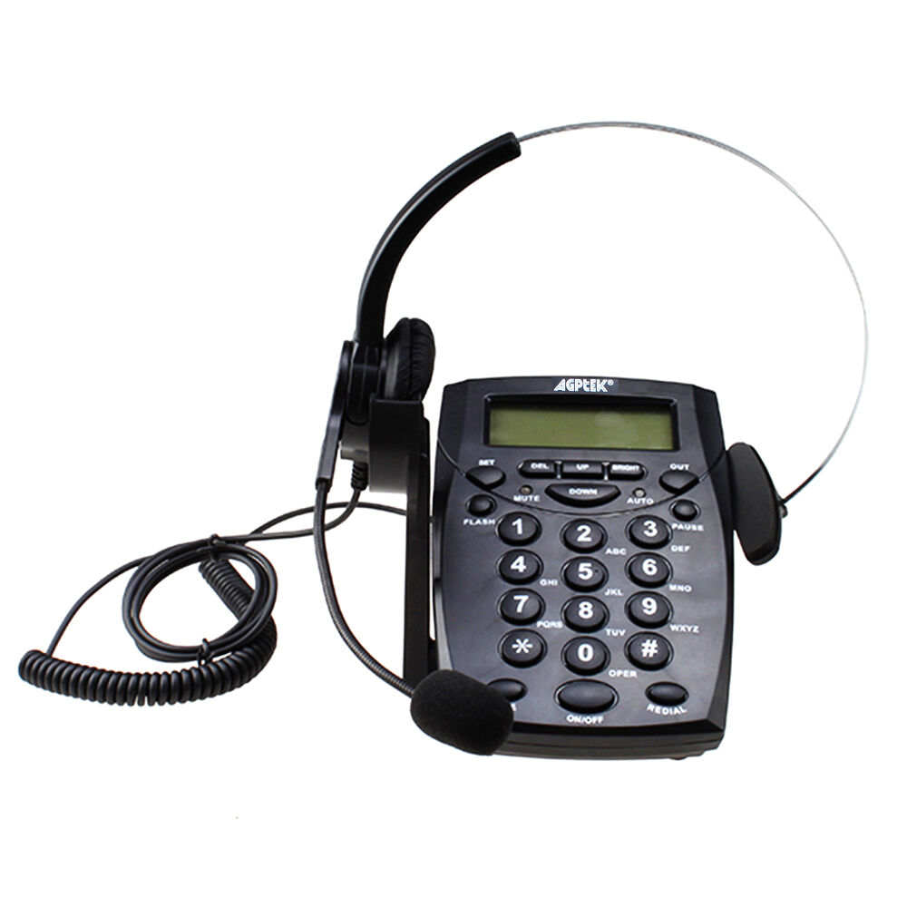 LCD Display New Office Telephone With Corded Headset Call