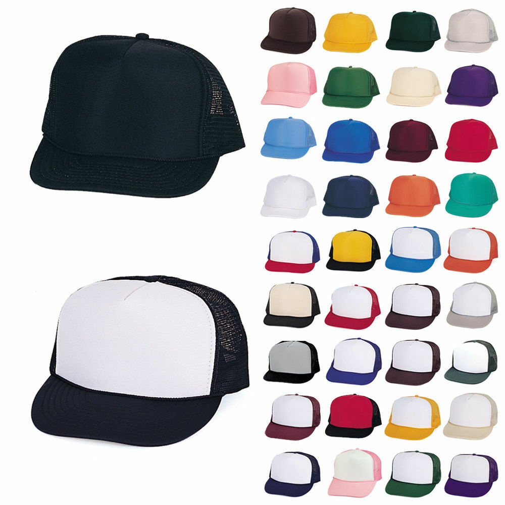 100 PLAIN TWO TONE SUMMER FOAM MESH TRUCKER HAT HATS CAP ...