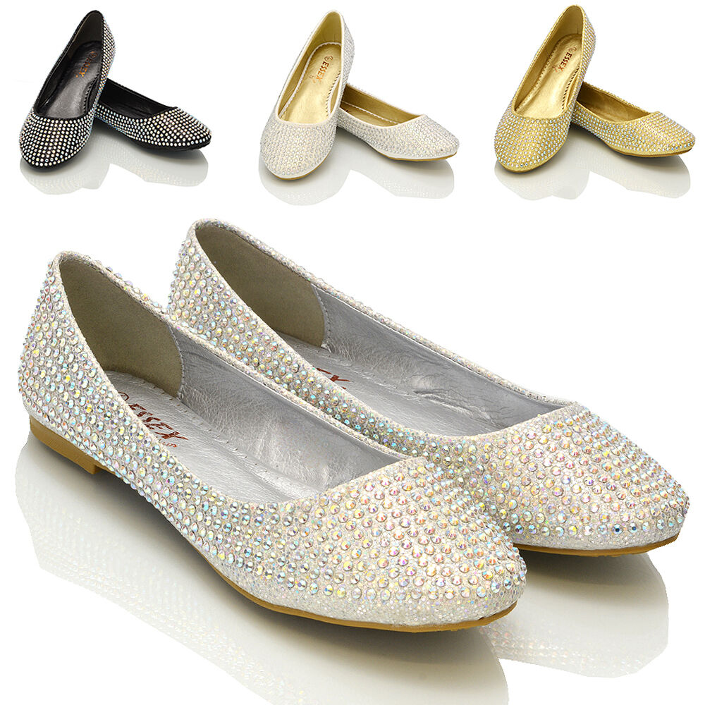 ballerina shoes for wedding new womens diamante bridal sparkly bridesmaid 1464