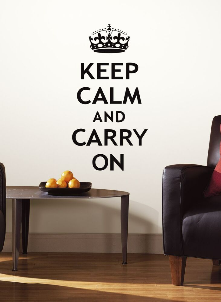 new keep calm and carry on peel and stick wall decals quote stickers home decor ebay. Black Bedroom Furniture Sets. Home Design Ideas
