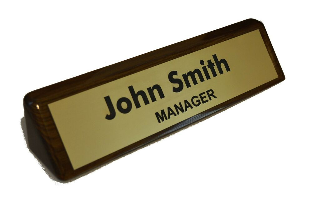 Office Name Plates: Personalized WALNUT NAME PLATE BAR Engraved Desk Office