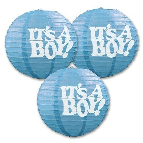 Baby shower it 39 s a boy paper lanterns 3 per pack ebay for Baby shower decoration packs