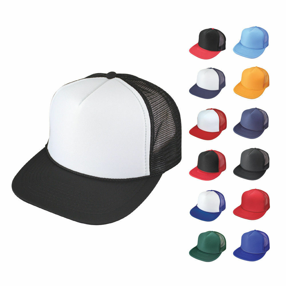 5c44dbf1 Details about 5 Pack Flat Bill Blank 5 Panel Mesh Foam Trucker Baseball  Hats Caps Wholesale