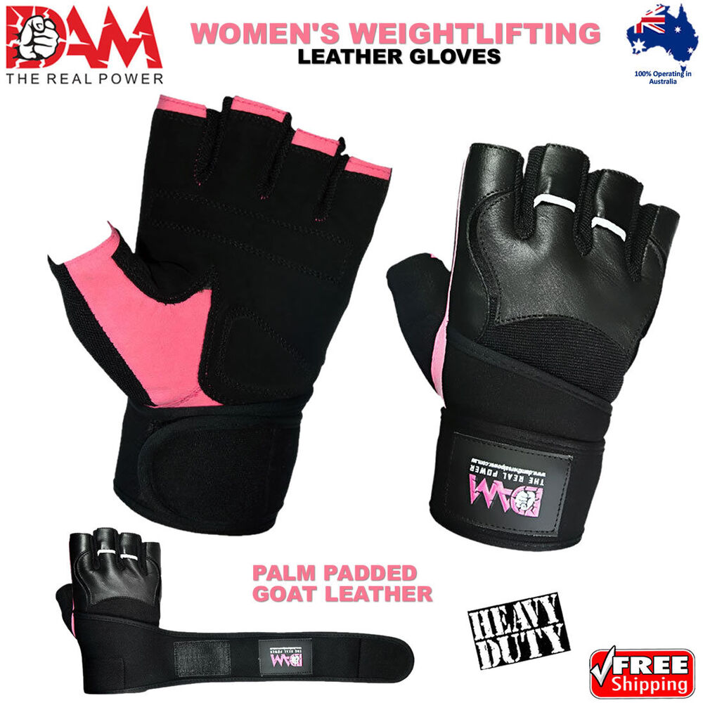 Hompo Ladies Gloves Bodybuilding Fitness Weight Lifting: DAM LEATHER WEIGHT LIFTING GYM GLOVES, BODY BUILDING