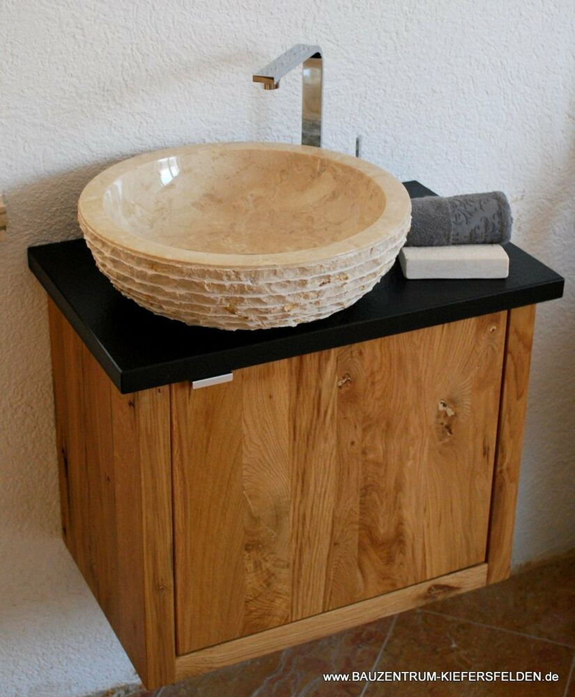 waschtisch design luxus granit nero assoluto marmor waschbecken bad wc eiche ebay. Black Bedroom Furniture Sets. Home Design Ideas