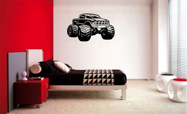 Monster truck boys decal wall art vinyl decor sticker room for Sports decals for kids rooms