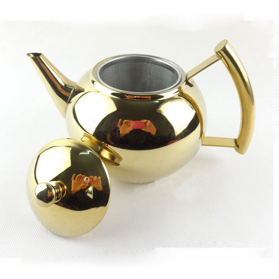 gold silver stainless steel tea pot coffee kettle with removable infuser filter ebay. Black Bedroom Furniture Sets. Home Design Ideas