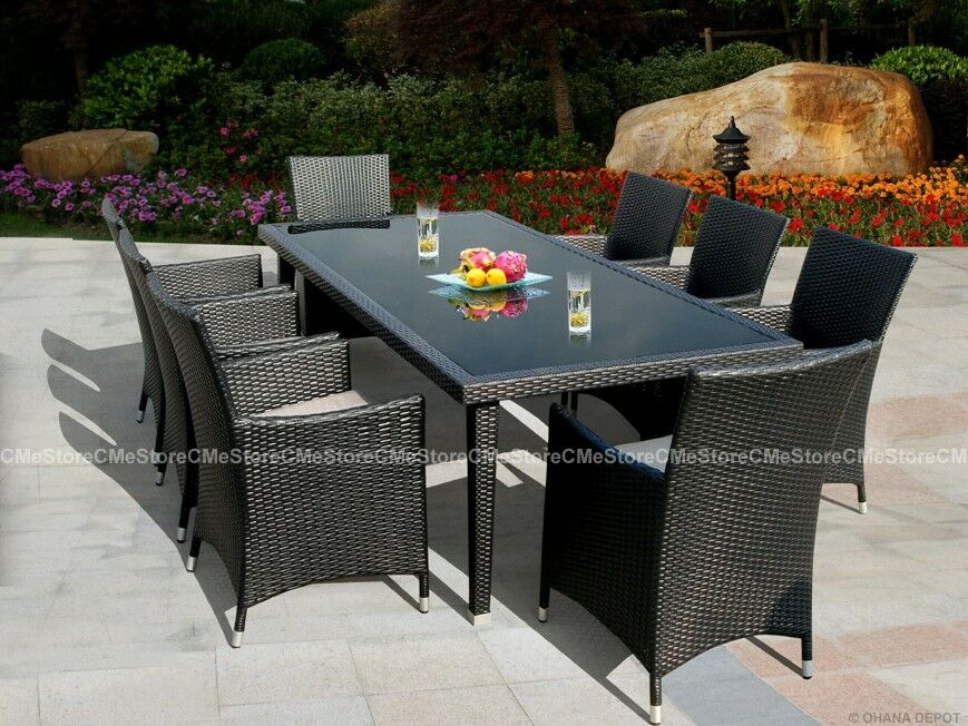 Outdoor Patio Wicker Furniture 9pc Modern Dining Set
