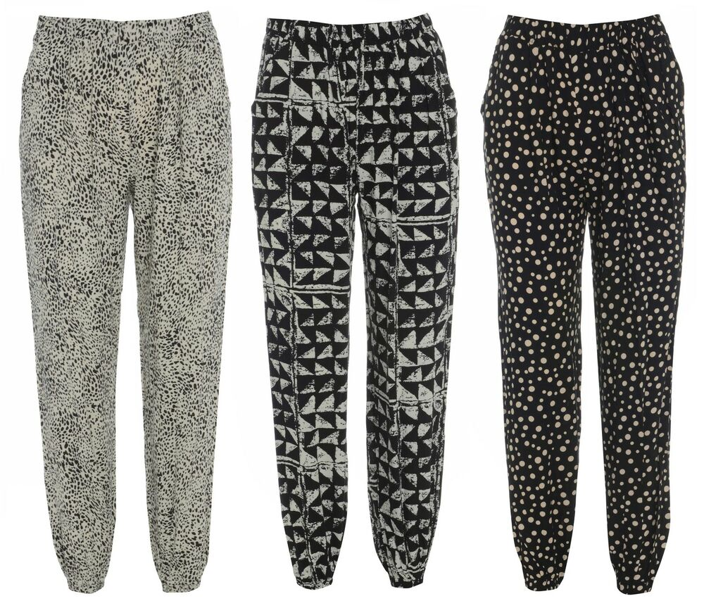 NEW LADIES PRINTED WOMENS HAREM PANTS CUFFED LEGGINGS ...