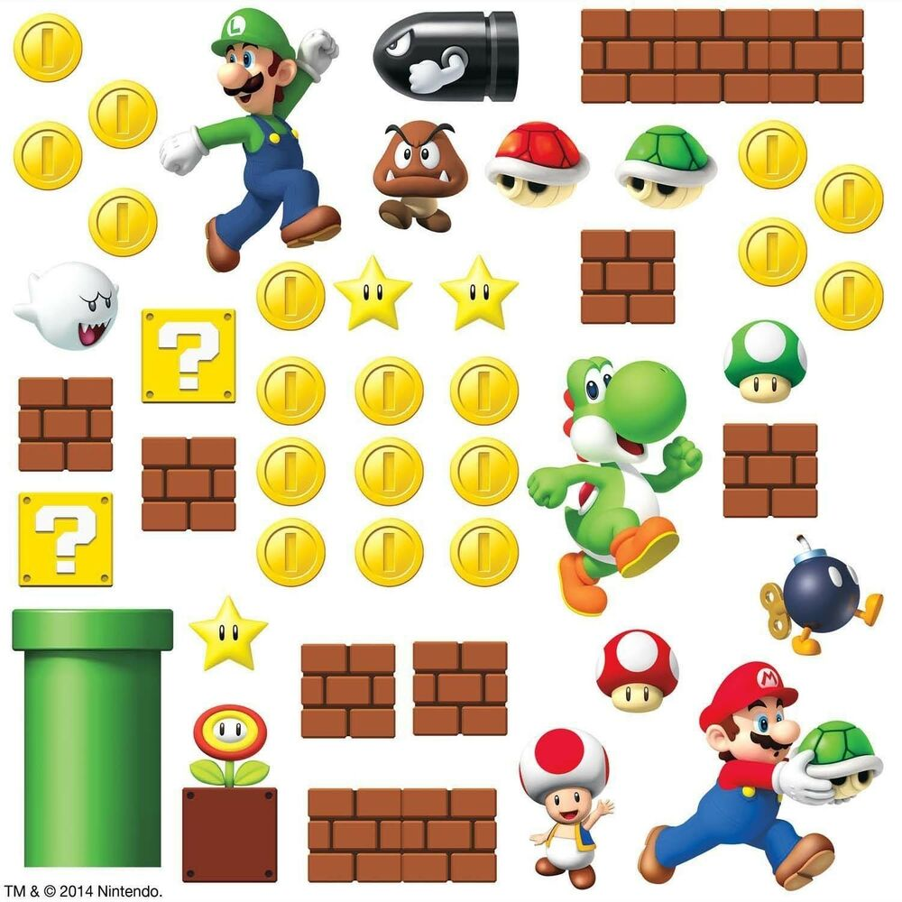 Super mario bricks coins 45 big wall luigi nintendo decals room decor stickers e ebay - Mario wall clings ...