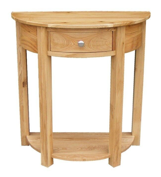 Stratton oak console table contemporary half moon hall for Half moon console table