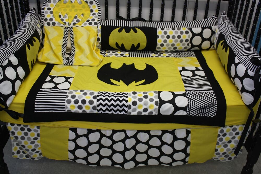 5 Pc Chevron Batman Crib Bedding Free Personalized Pillow
