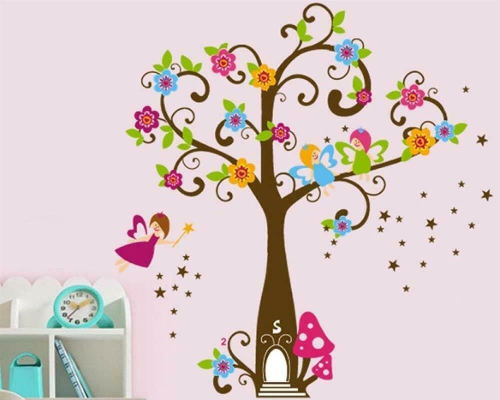 wandtattoo wandsticker wandaufkleber baum fee prinzessin wald m dchen bl te w022 ebay. Black Bedroom Furniture Sets. Home Design Ideas