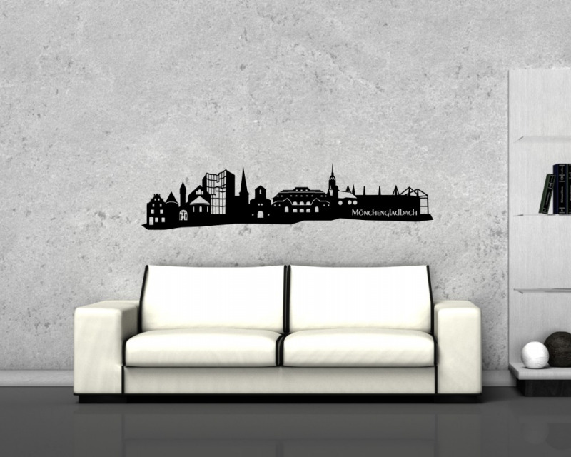 m nchengladbach wandtattoo skyline wandtattoo ebay. Black Bedroom Furniture Sets. Home Design Ideas