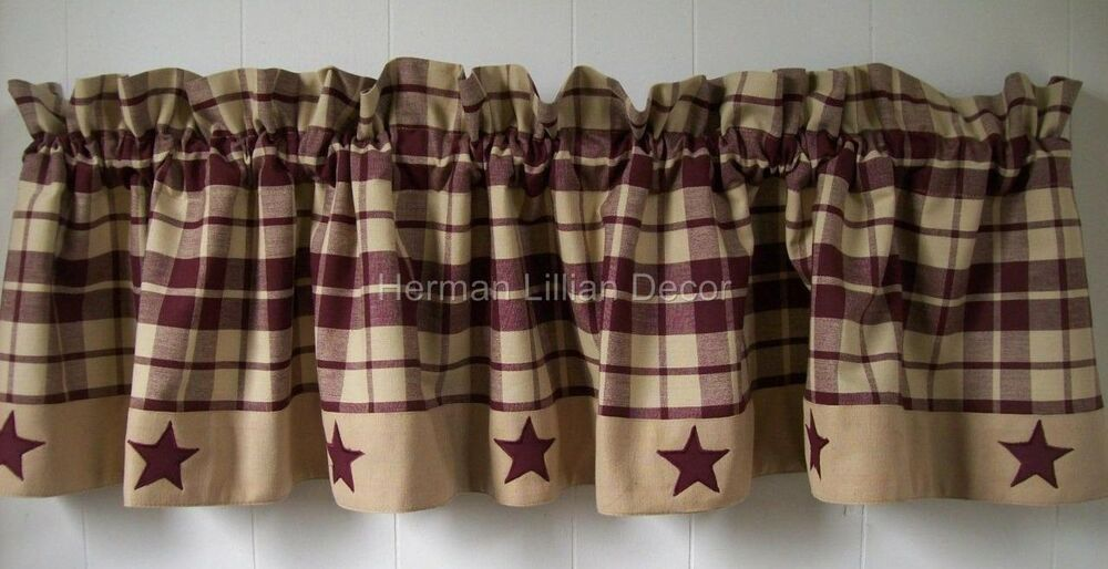 Burgundy and Tan Plaid with Stars Country Primitive Farmhouse Cotton ...