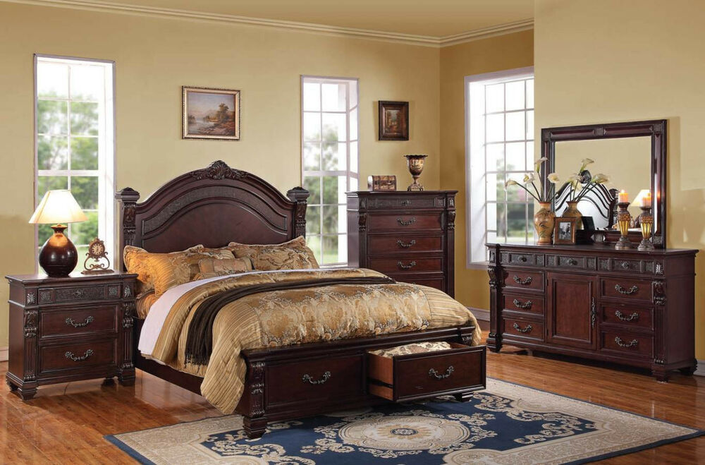 Traditional queen king size bed set vevila cherry 5pc - Queen size bedroom furniture sets ...