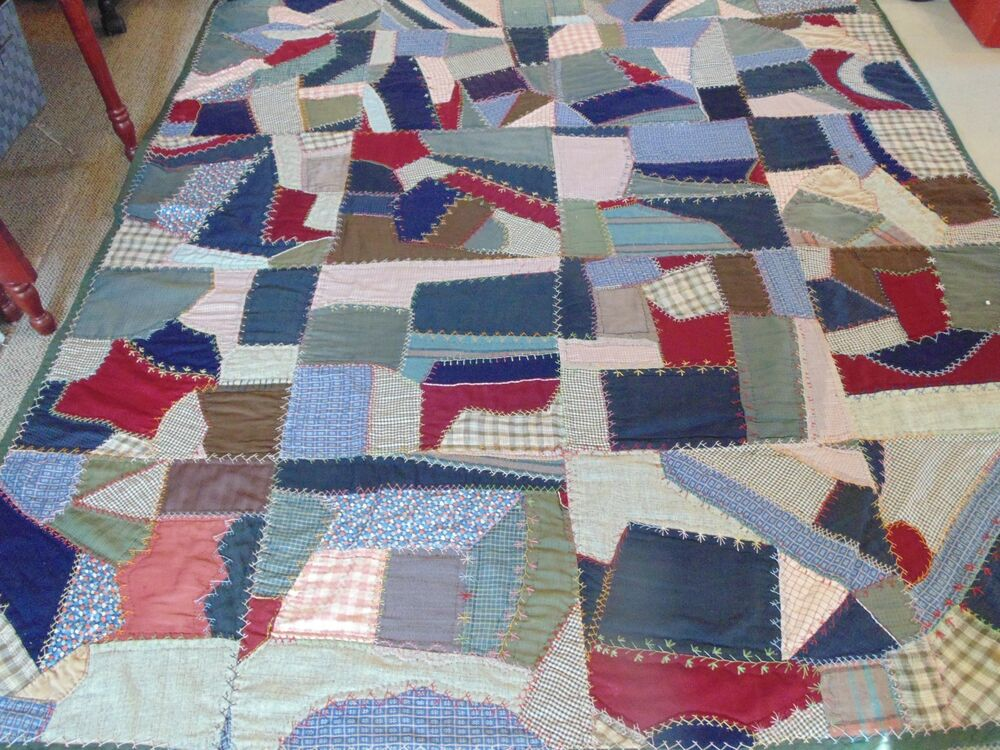Vintage wool and blend crazy antique folk art quilt hand for What to do with an old quilt