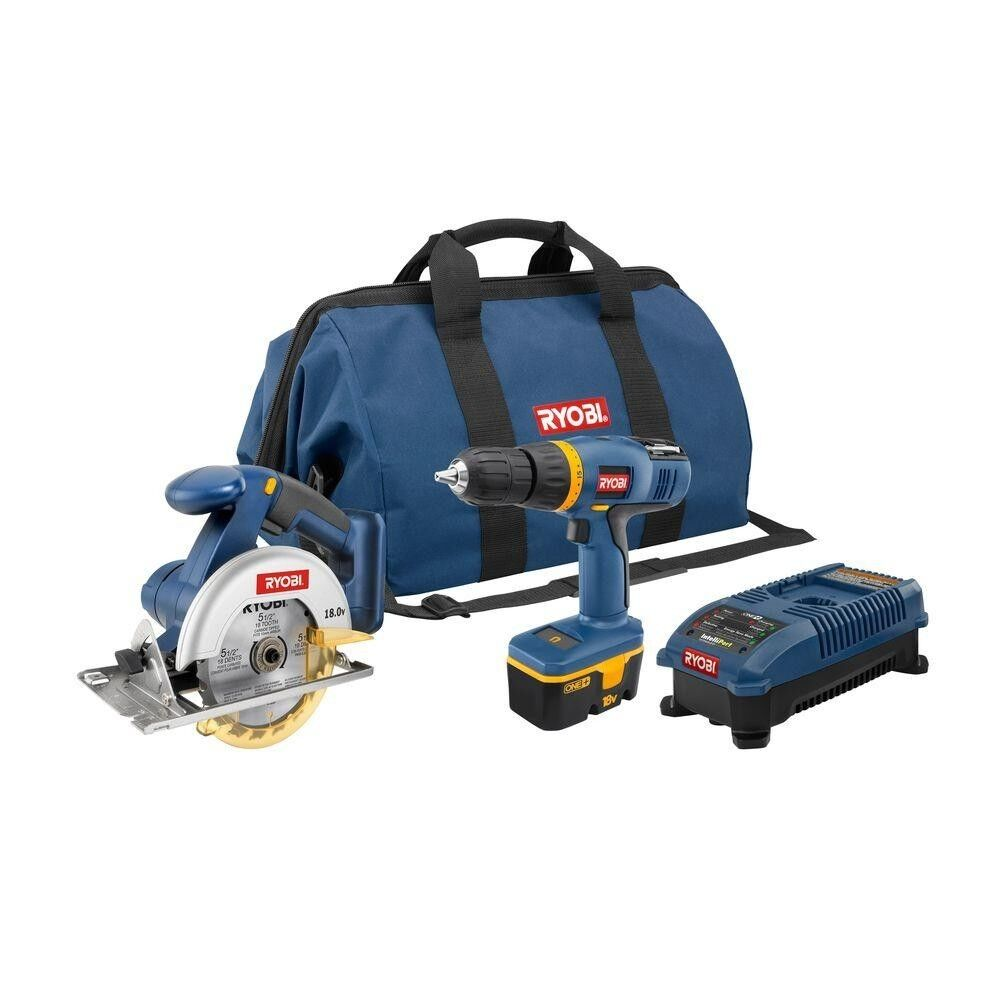 ryobi 18v one drill and circular saw combo kit brand new cordless power tools ebay. Black Bedroom Furniture Sets. Home Design Ideas