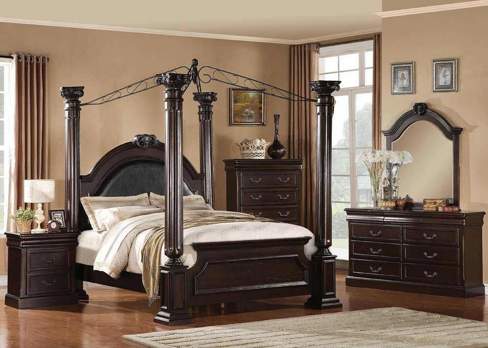 Traditional Bedroom Set Queen King Size 4pcs Master Bedroom Furniture 21328 4