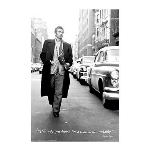 james dean quote poster 24 x 36 the only greatness for a man is immortality ebay. Black Bedroom Furniture Sets. Home Design Ideas