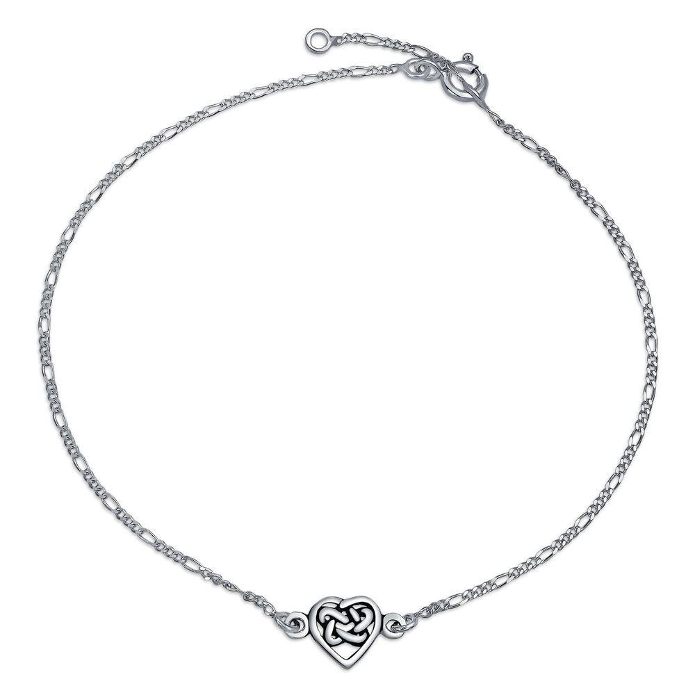 Bling Jewelry Celtic Love Knot Heart Anklet Sterling