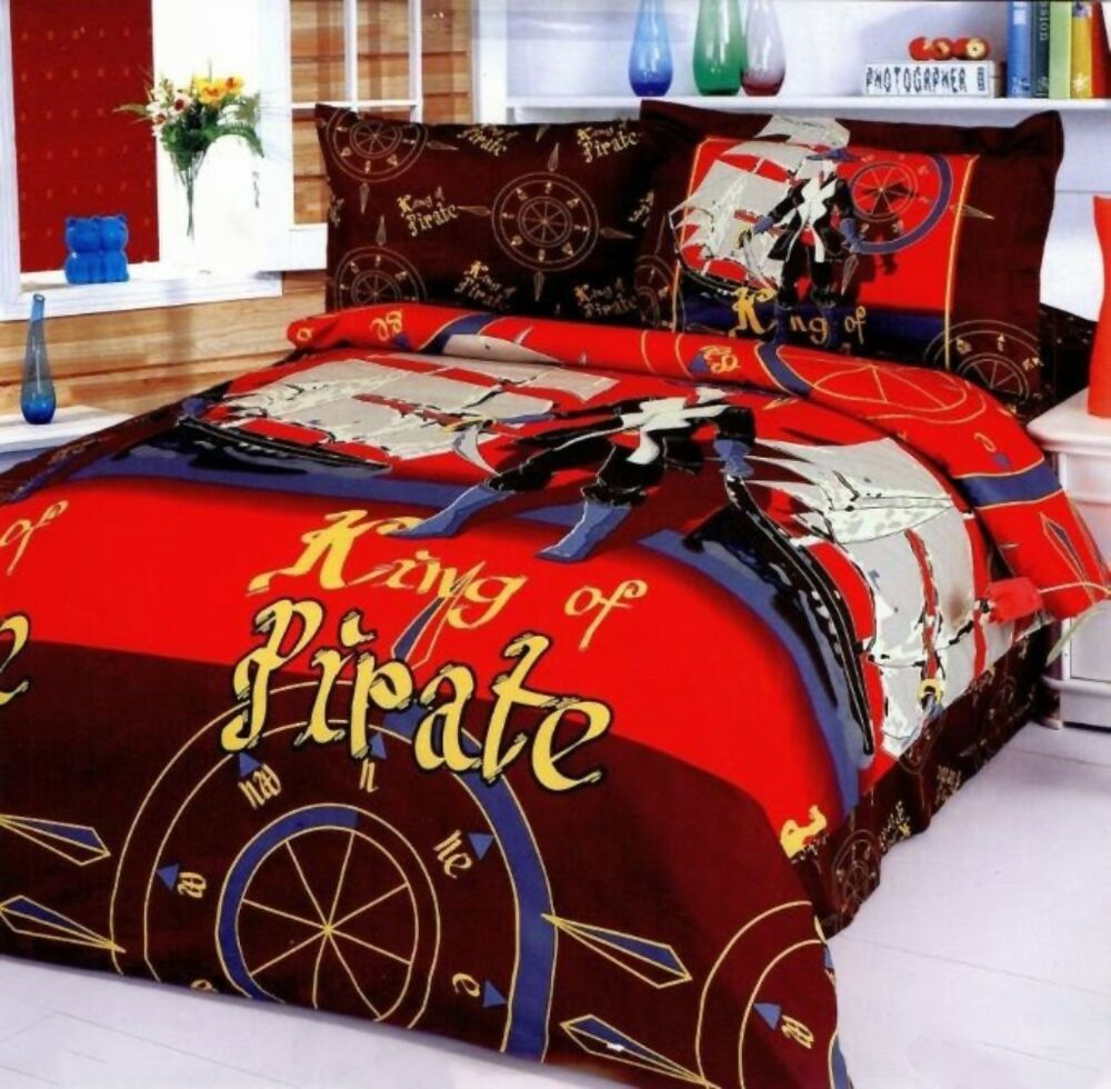 Kids Pirate Themed Bedding 4 Piece Duvet Cover Bedding Set Twin Size Le40t Ebay
