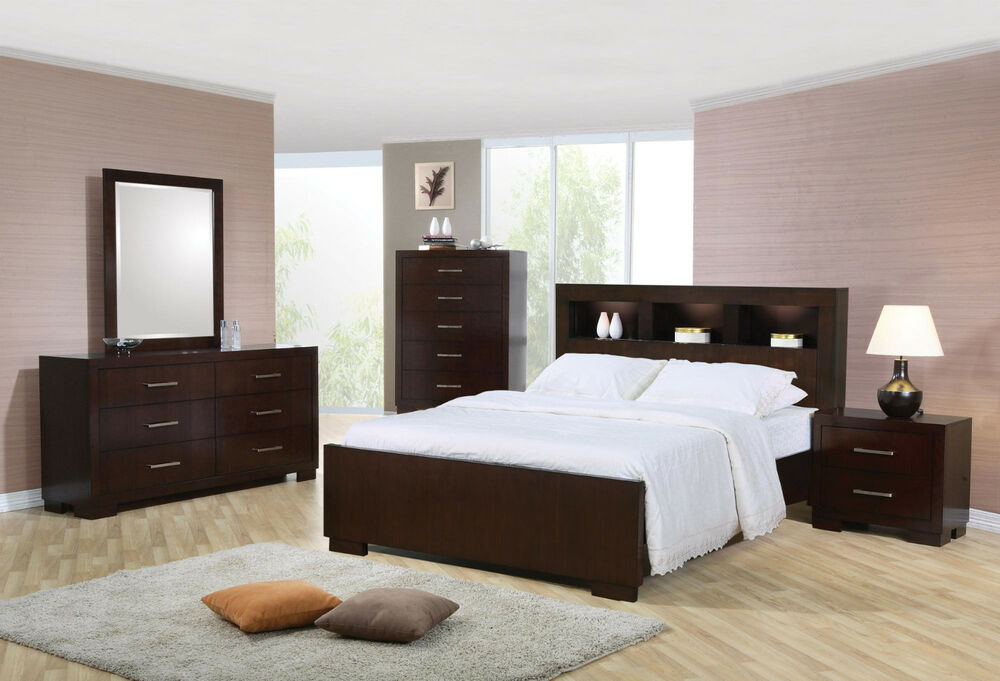 New queen size bed with storage headboard built in for Queen size bedroom furniture