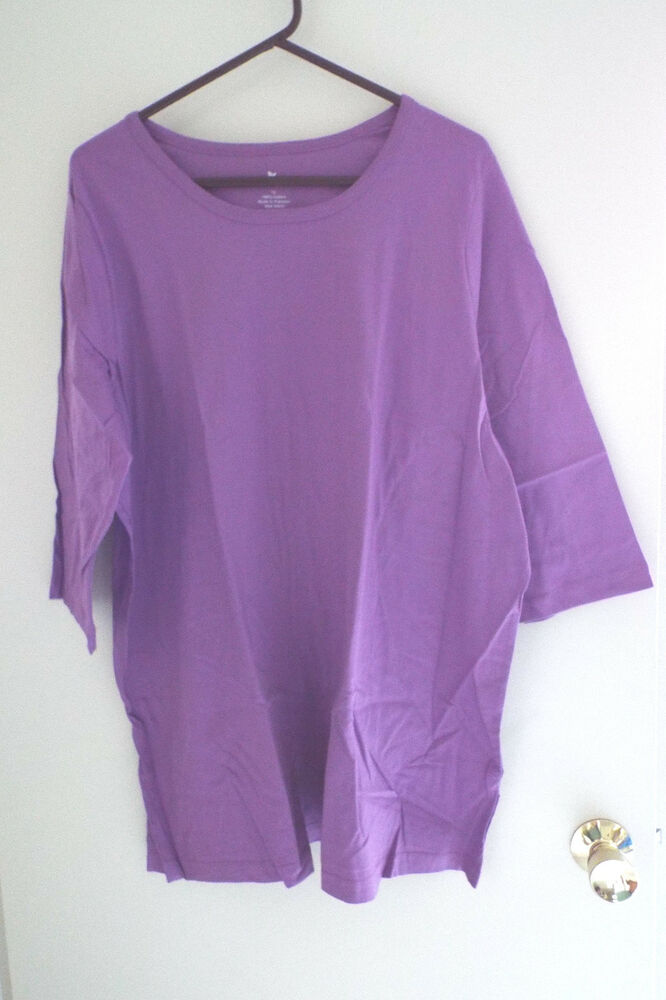 Women 39 s plus size crew neck t shirt 3 4 sleeves in violet for Plus size 3 4 sleeve tee shirts
