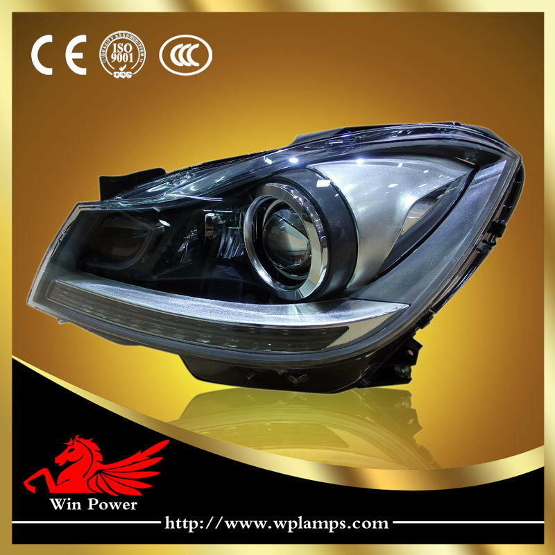 For 2011 2014 mercedes benz w204 headlights led drl and bi for Mercedes benz xenon headlights
