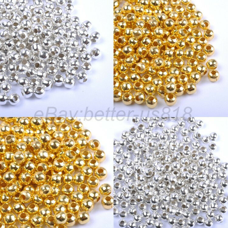 Gold Plated Silver Antique Beads: Gold & SILVER PLATED Round SPACER BEADS
