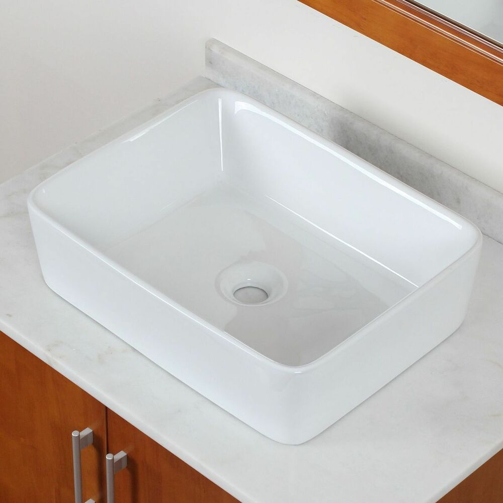 Brand new bathroom white square ceramic porcelain vessel for Latest bathroom sinks