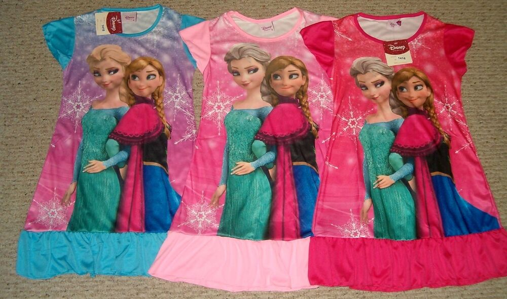 Disney Frozen Anna Elsa Nightgown Pajamas 3/4 - 5/6 - 7/8 - 9/10 NWT