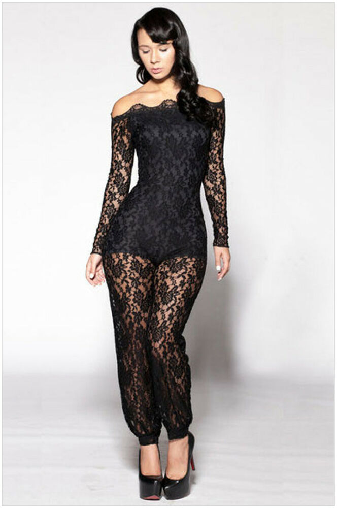 Women Black Lace Floral Stretch Long Sleeve Plus Size Bobycon Jumpsuits Rompers | EBay