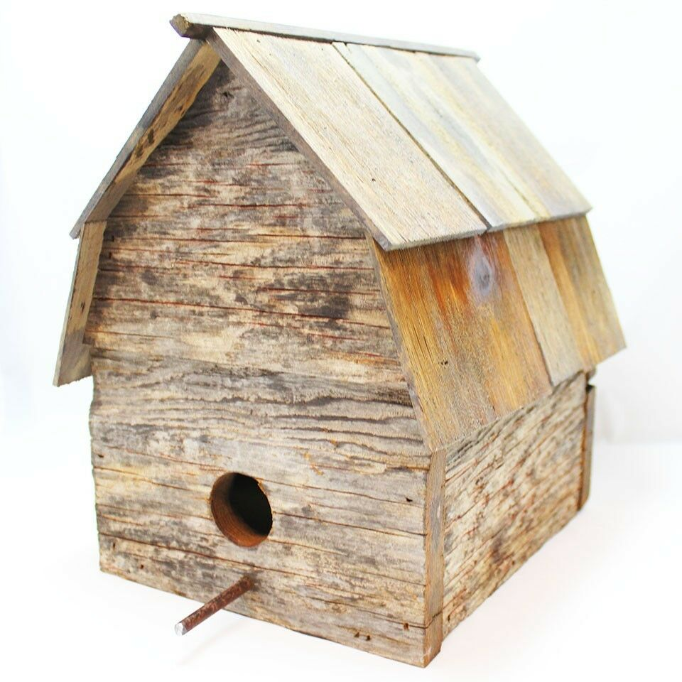Recycled barn wood birdhouse ebay for Reusable wood