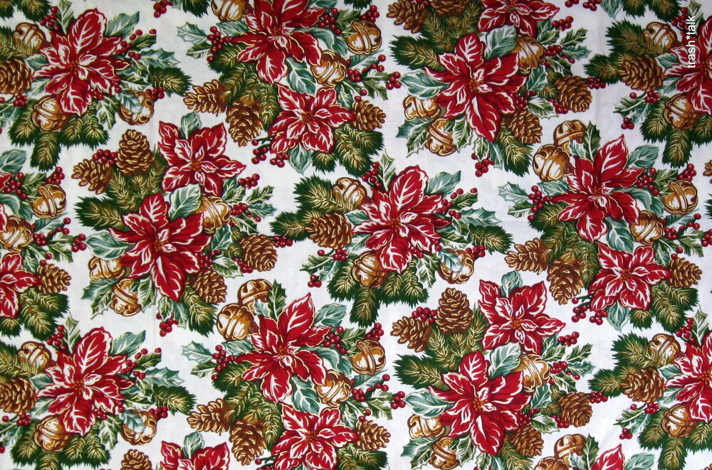 Robert Kaufman cotton fabric Christmas Pinecone Poinsettia ...