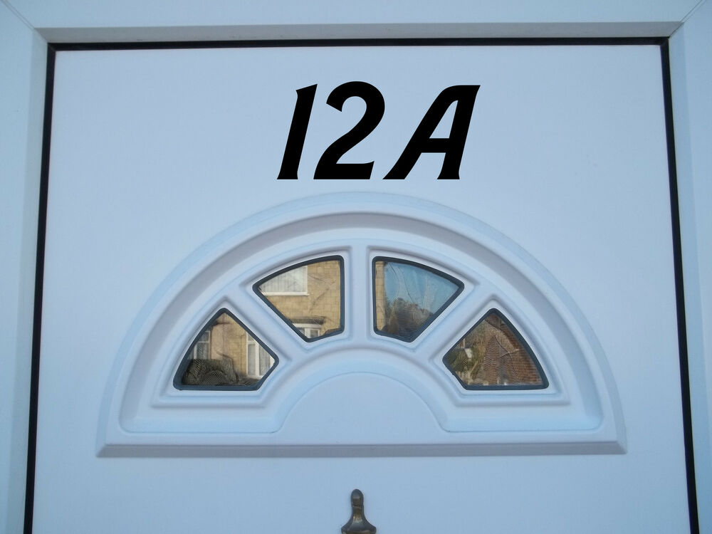 Door number vinyl decal stickers pvc window bin house for Window number