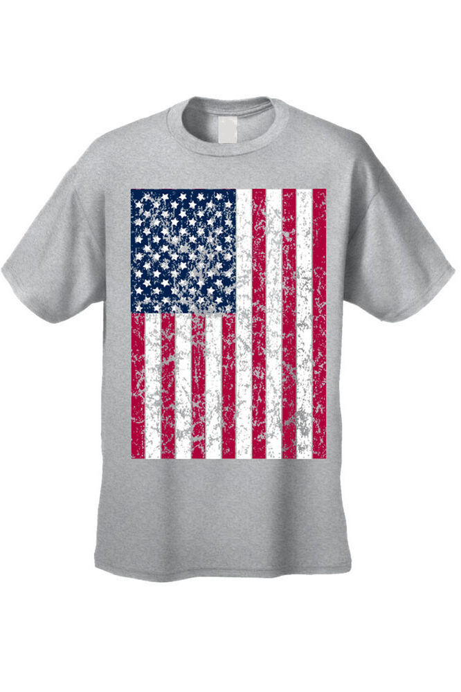 Men 39 s grey flag t shirt distressed stars and stripes proud for Mens shirt with stars