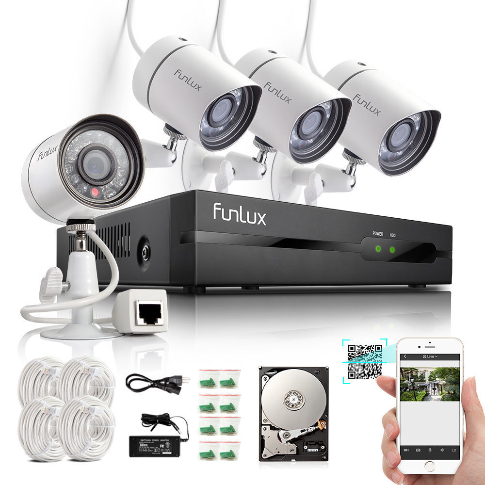 Funlux 174 4ch Nvr 1280 720p Hd Network Poe Outdoor Home