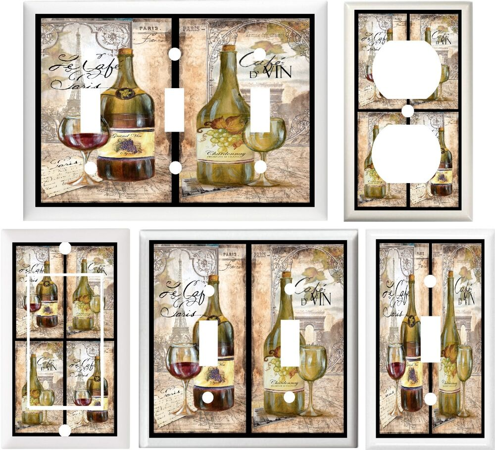 FRENCH WINE & GRAPES EIFFEL TOWER PARIS HOME DECOR SWITCH