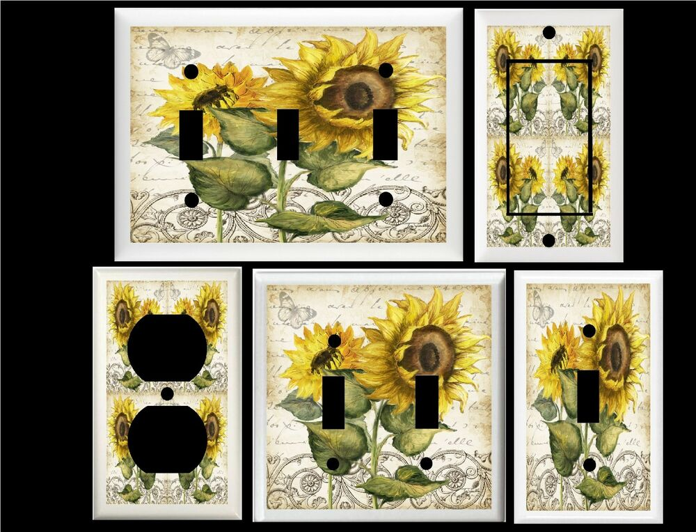 Awesome tuscan sunflower butterfly home decor switch or for Sunflower home decor