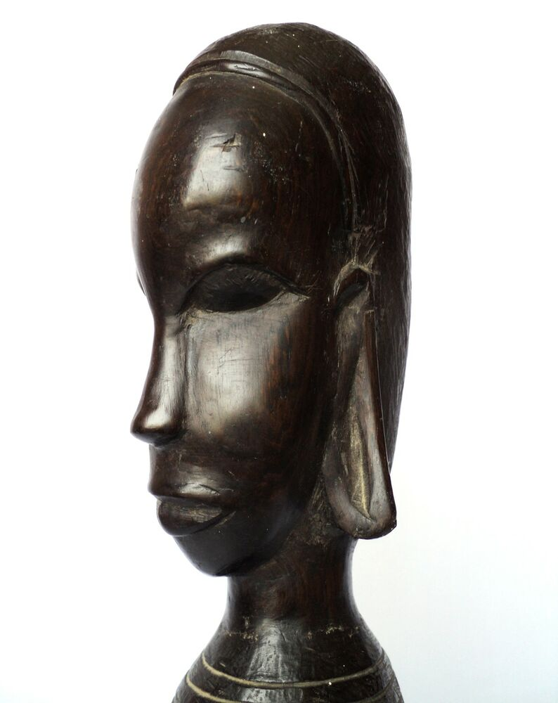 Kenya african hand carved bust woman old ebony wood