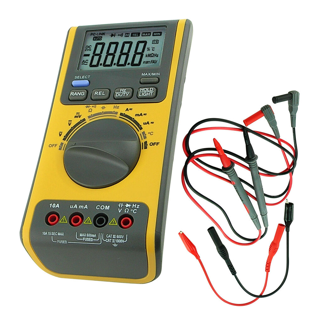 Digital Multimeter Voltmeter Thermometer Ohm USB CD ...