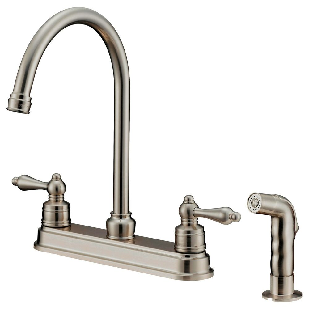 Goose nose kitchen faucets with sprayer 8 inches spread - Bathroom sink faucet with sprayer ...