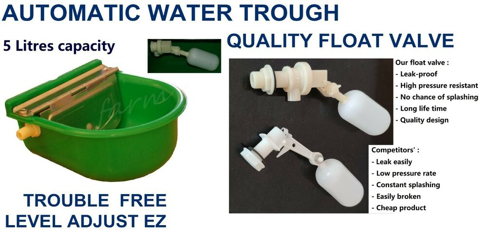 auto fill dog water bowl automatic float valve water trough bowl stock waterer 7521