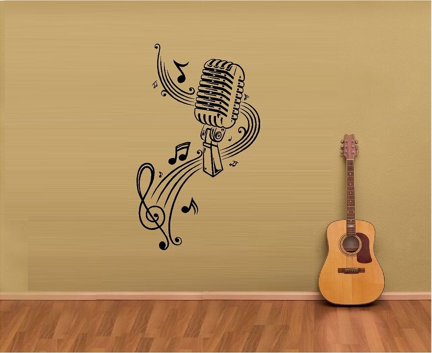 music notes sheet music microphone vinyl wall decal online buy wholesale music wallpaper from china music