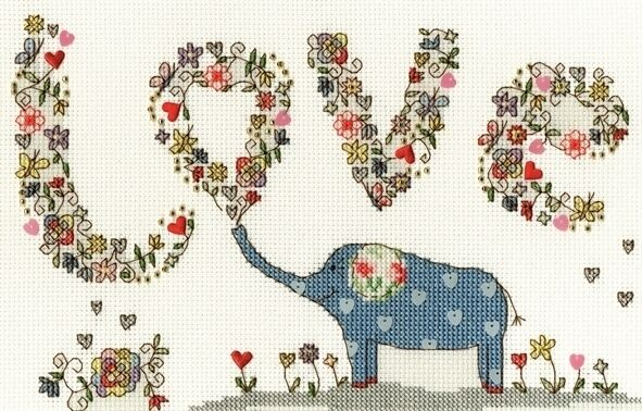 BOTHY THREADS LOVELLY LOVE ELLY ELEPHANT COUNTED CROSS ...