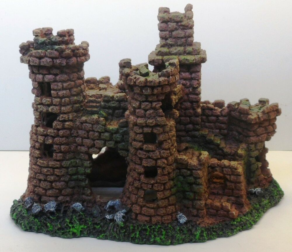 Medieval stone castle ruins resin ornament ac009 aquarium for Aquarium stone decoration