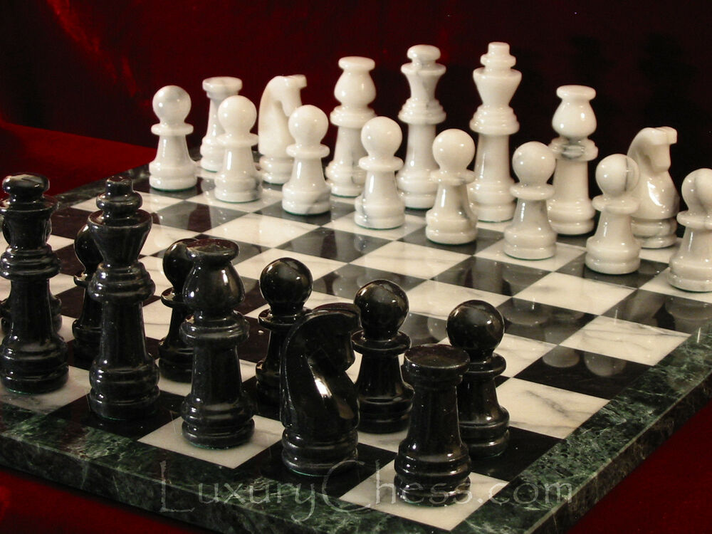 Marble chess set new wth 18in marble board large black white marble pieces ebay - Granite chess pieces ...