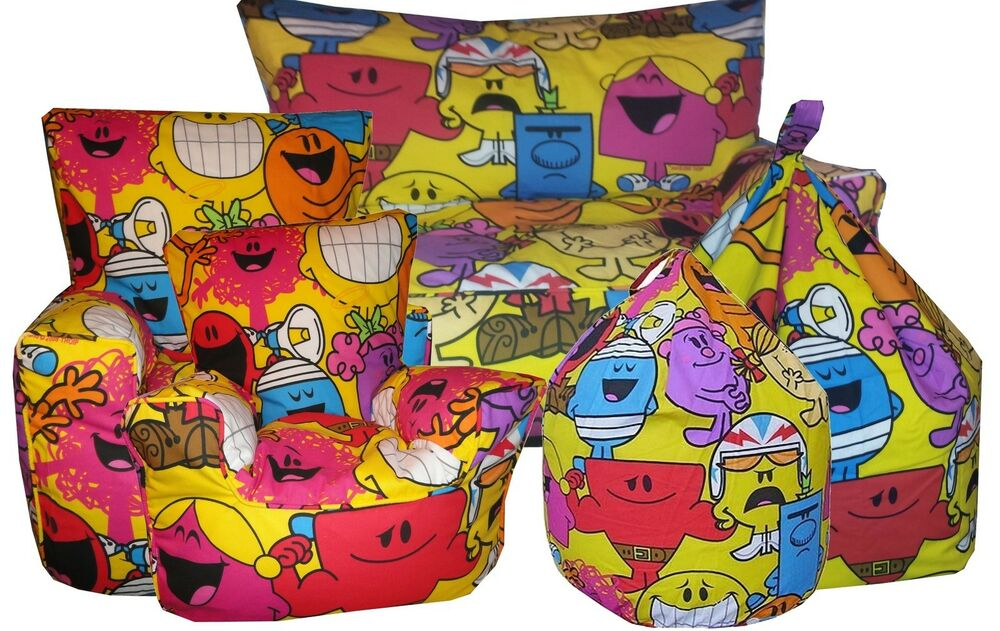 Mr Men Little Miss Childrens Beanbags Bean Chairs And Kids Character Sofa S